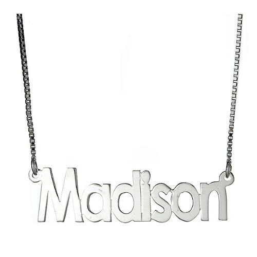 Classic Block Letters .925 Sterling Silver Name Plate Necklace - Betterjewelry