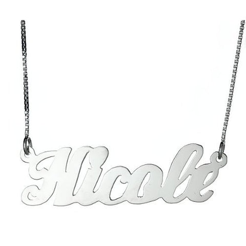 Personalized Classic Script .925 Sterling Silver Name Plate Necklace - Betterjewelry