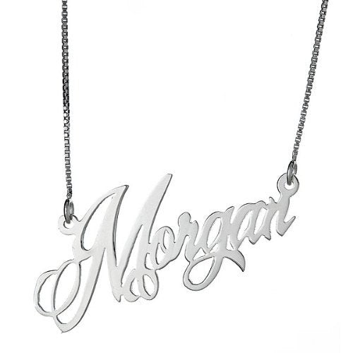 Personalized Sleek Script .925 Sterling Silver Name Plate Necklace - Betterjewelry