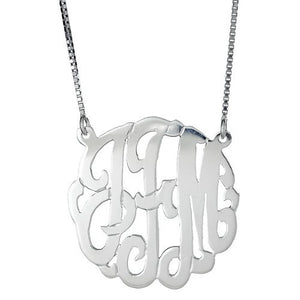 "Medium .925 Sterling Silver Custom Three Letter Initial Monogram Pendant Necklace (1.25"") - Betterjewelry"