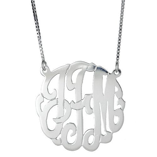 Medium .925 Sterling Silver Custom Three Letter Initial Monogram Pendant Necklace (1.25