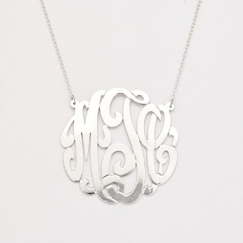 925 Sterling Silver Custom Three Letter Initial Monogram Pendant - Betterjewelry