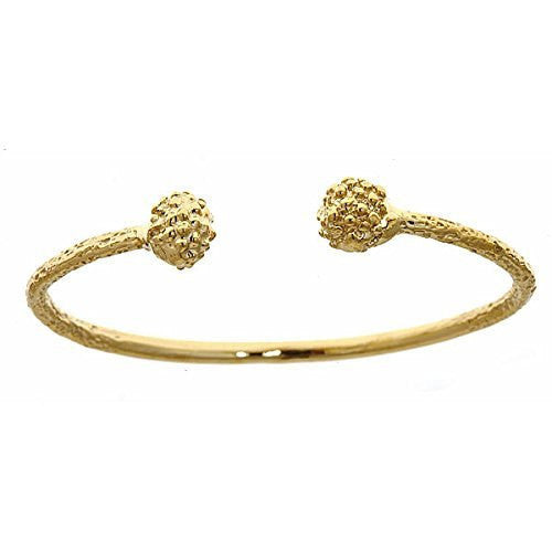10K Yellow Gold BABY West Indian Bangle w. Textured Ball Ends - Betterjewelry