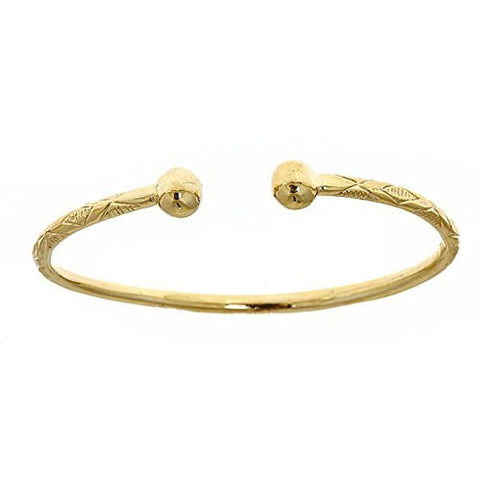 10K Yellow Gold West Indian Bangle w. Ball Ends (Made in USA)