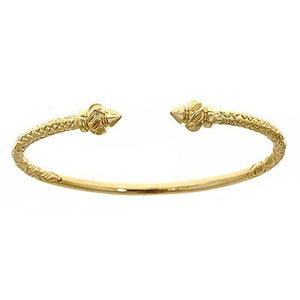 10K Yellow Gold West Indian Bangle w. Torch Ends (23 grams) - Betterjewelry