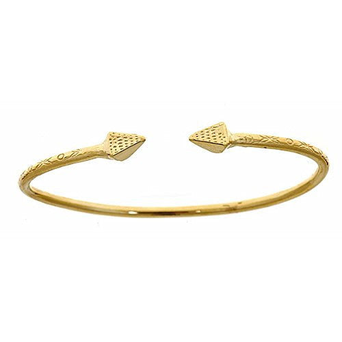 10K Yellow Gold West Indian BABY Bangle w. Pyramid Ends - Betterjewelry