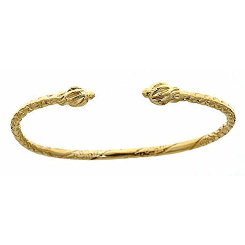 10K Yellow Gold BABY West Indian Bangle w. Coiled Ends - Betterjewelry
