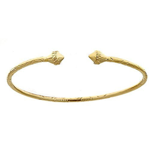 10K Yellow Gold West Indian Bangle w. Pointy Ends