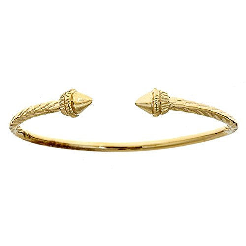 10K Yellow Gold West Indian Bangle w. Spear Ends