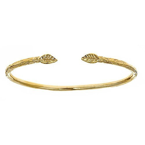 10K Yellow Gold West Indian Bangle w. Leaf Ends