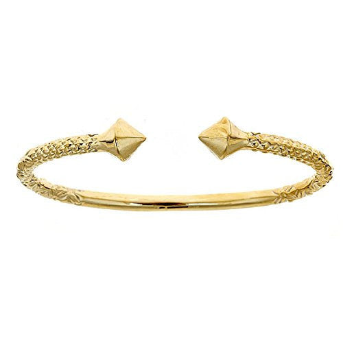 10K Yellow Gold West Indian Bangle w. Thick Pyramid Ends