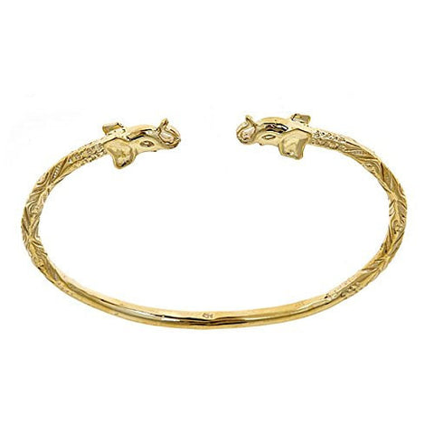 10K Yellow Gold West Indian Bangle w. Elephant Ends