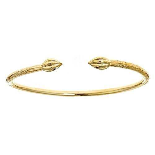 10K Yellow Gold West Indian Bangle w. Tulip Ends