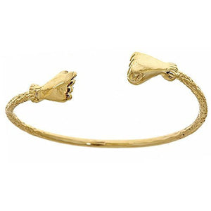 14K Yellow Gold BABY West Indian Bangle w. Fist Ends (Made in USA) - Betterjewelry