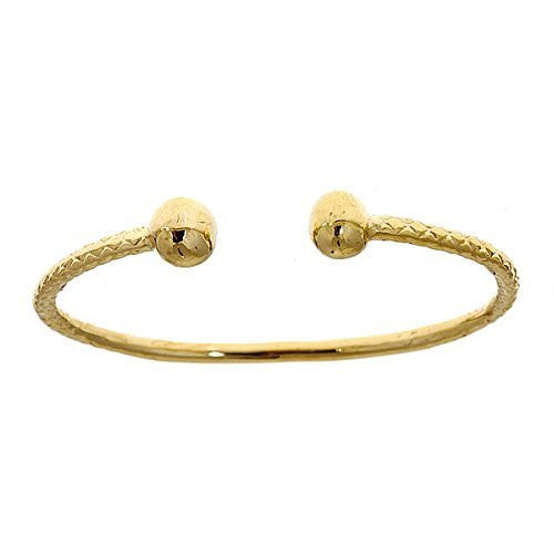 14K Yellow Gold BABY West Indian Bangle w. Ball Ends (Made in Usa)