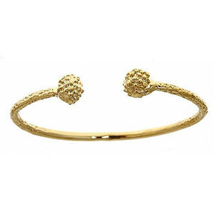 14K Yellow Gold BABY West Indian Bangle w. Textured Ball Ends (Made in Usa) - Betterjewelry