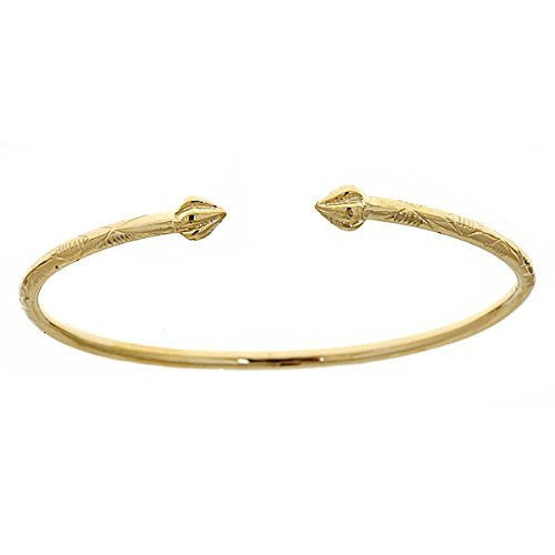 14K Yellow Gold West Indian Bangle w. Bulb Ends (Made in Usa) - Betterjewelry