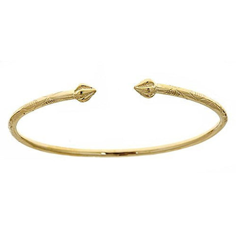 14K Yellow Gold West Indian Bangle w. Bulb Ends (Made in Usa)