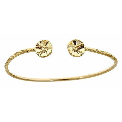 14K Yellow Gold West Indian Bangle w. Drum Ends