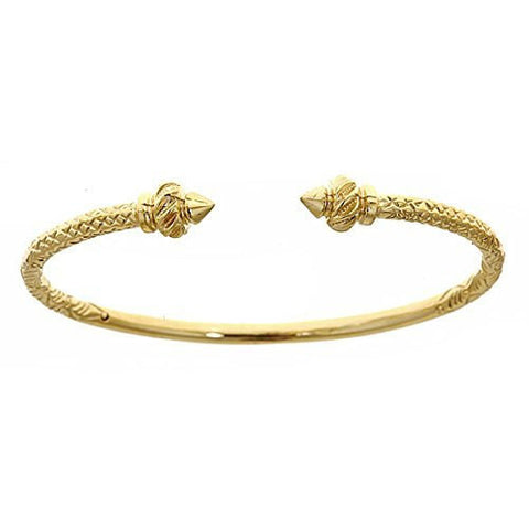 14K Yellow Gold West Indian Bangle w. Torch Ends (Made in Usa)
