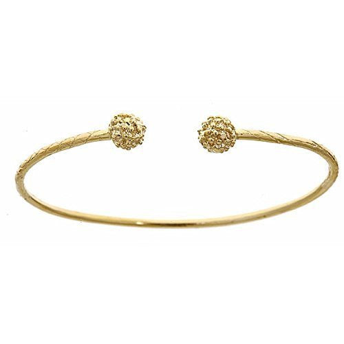 14K Yellow Gold West Indian Bangle w. Textured Ball Ends (Made in USA) - Betterjewelry