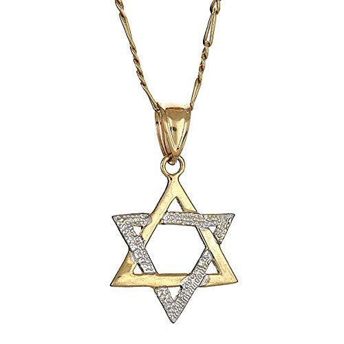 10K Yellow Gold Magen David Jewish Star of David Pendant w. Figaro Chain (3.8 gr) - Betterjewelry