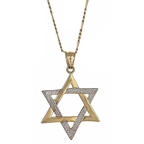 10K Yellow Gold Magen David Jewish Star of David Pendant w. Figaro Chain (5.7 gr) - Betterjewelry