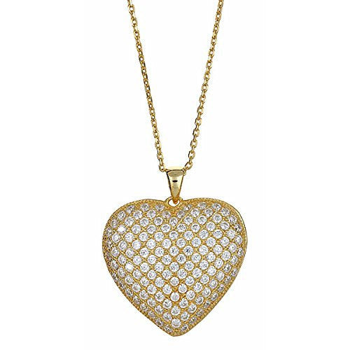 Gold Plated on .925 Sterling Silver Heart Pendant + Chain Gift Set  .925 - Betterjewelry