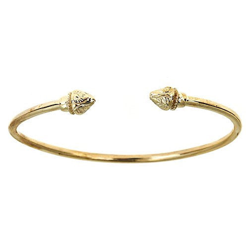 10K Yellow Gold West Indian Bangle w. Fancy Pointy Ends (Made in USA)