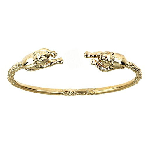 10K Yellow Gold West Indian Bangle w. Panther Ends