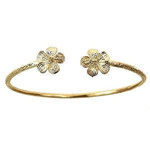 10K Yellow Gold West Indian Bangle w. Flower Ends