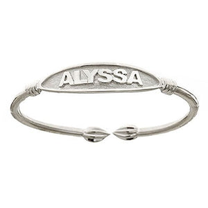 NAME PLATE Adult Bangle .925 Sterling Silver (26 grams) - Betterjewelry