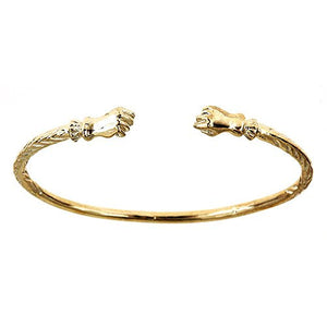 10K Yellow Gold West Indian Bangle w. Fist Ends (28 grams) - Betterjewelry
