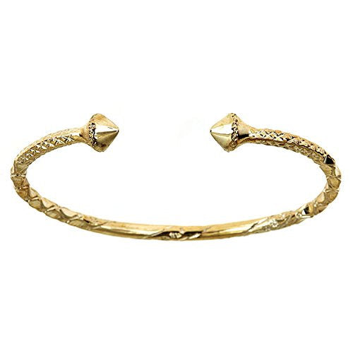 10K Yellow Gold West Indian Bangle w. Pyramid Ends (24 grams) - Betterjewelry