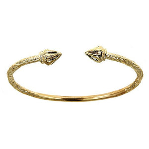 10K Yellow Gold West Indian Bangle w. Arrow Ends (Made in USA) - Betterjewelry