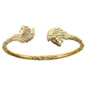 10K Yellow Gold West Indian Bangle w. Lion Ends - Betterjewelry