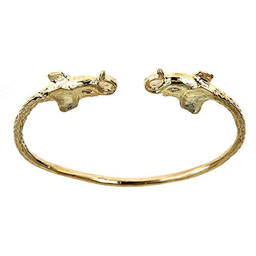 10K Yellow Gold West Indian BABY Bangle w. Elephant Ends - Betterjewelry