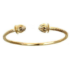 10K Yellow Gold BABY West Indian Bangle w. Acorn Ends - Betterjewelry