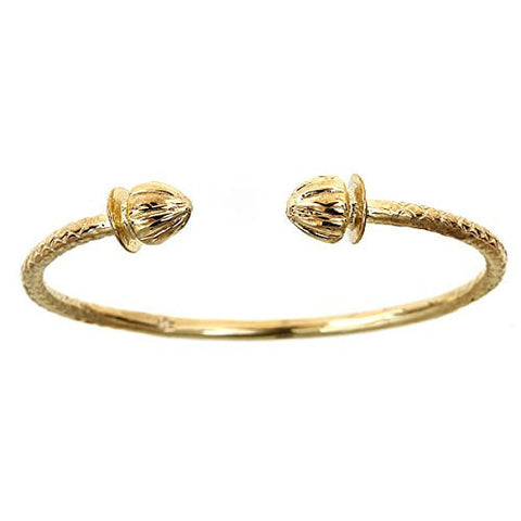 10K Yellow Gold BABY West Indian Bangle w. Acorn Ends