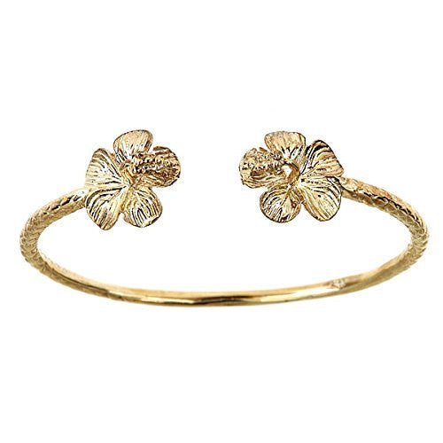 10K Yellow Gold West Indian BABY Bangle w. Flower Ends
