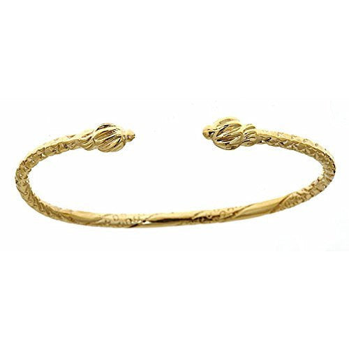 14K Yellow Gold BABY West Indian Bangle w. Coiled Ends