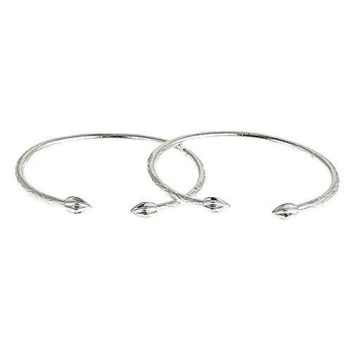 Tulip Bulb .925 Sterling Silver West Indian Bangles (pair) - Betterjewelry