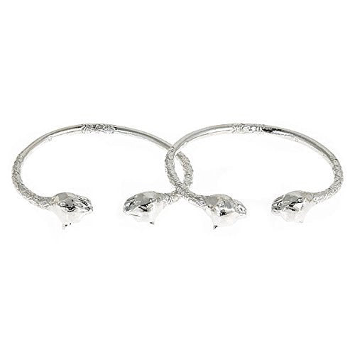 Large Panther Heads .925 Sterling Silver West Indian Bangles (Pair) - Betterjewelry