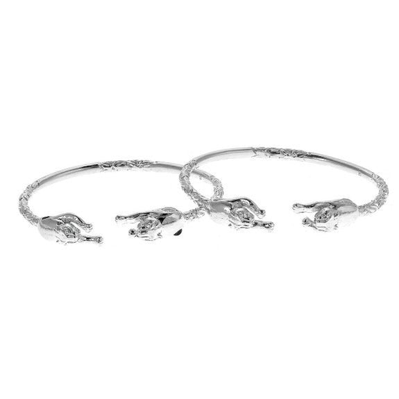 Panther .925 Sterling Silver West Indian Bangles (Pair)