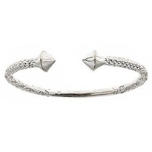 Thick Pyramid Ends .925 Sterling Silver West Indian Bangle (Size 9) - Betterjewelry