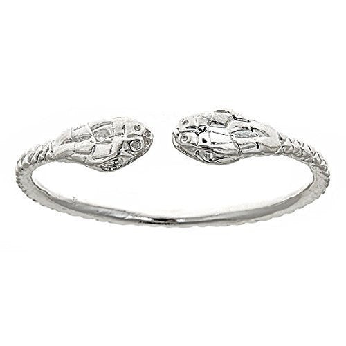 Thick Snake Ends .925 Sterling Silver West Indian Bangle - Betterjewelry