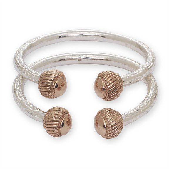 Heave Ridged Ball .925 Sterling Silver West Indian Bangles