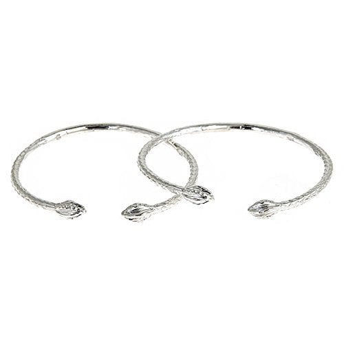Pointy Bulbs .925 Sterling Silver West Indian BABY Bangles (Pair) (Made in Usa) - Betterjewelry