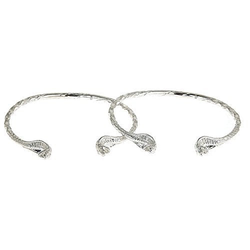 Snake Heads .925 Sterling Silver West Indian Bangles (Pair) - Betterjewelry
