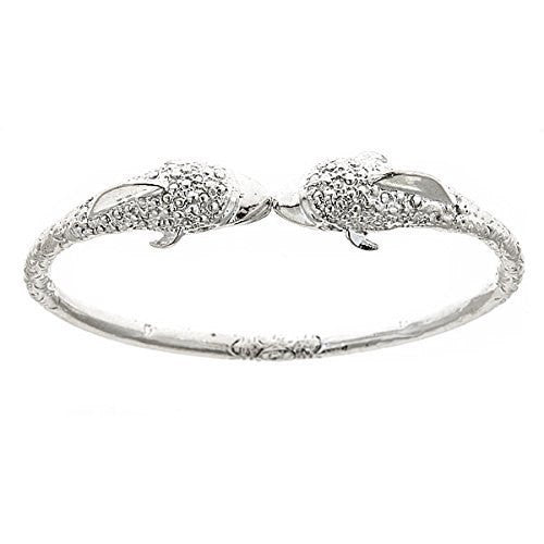 Dolphin .925 Sterling Silver West Indian Bangle (34g, 4mm) - Betterjewelry